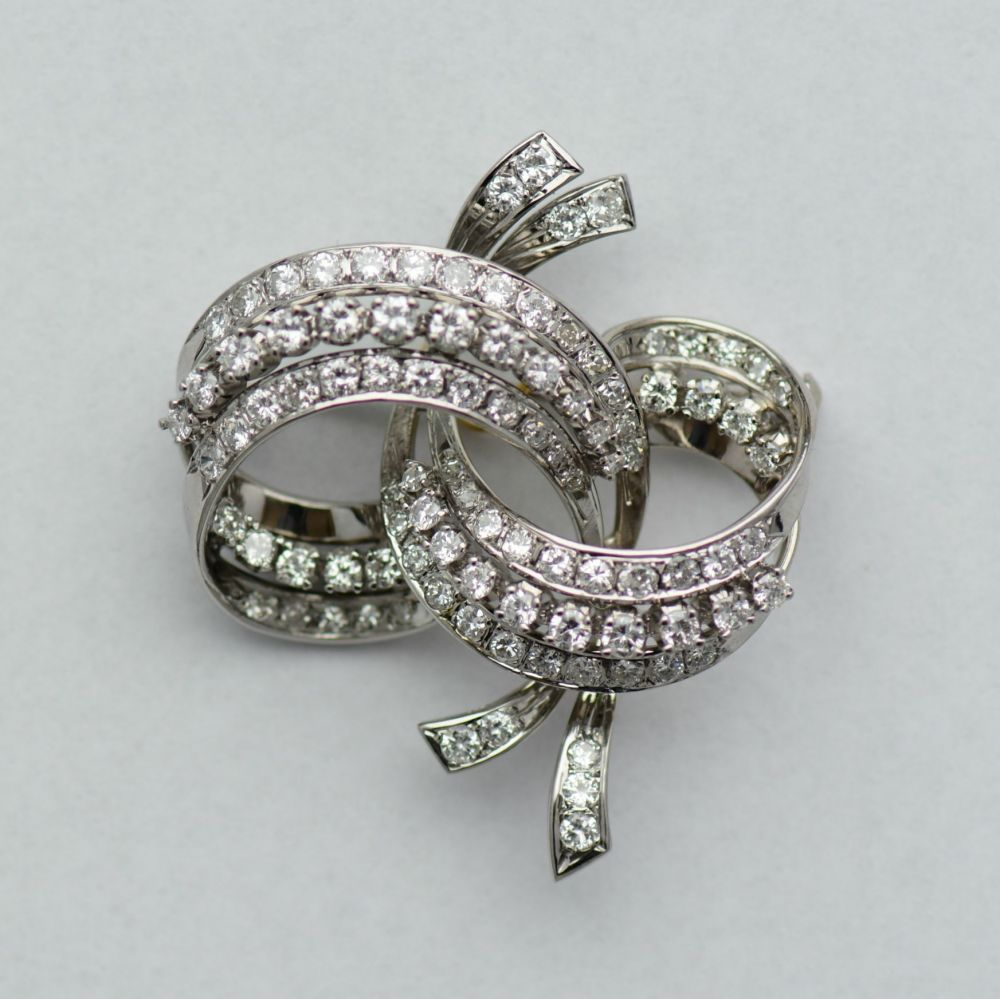 Brosa aur alb cu diamante