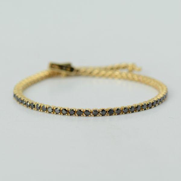 Bratara de aur galben cu diamante negre