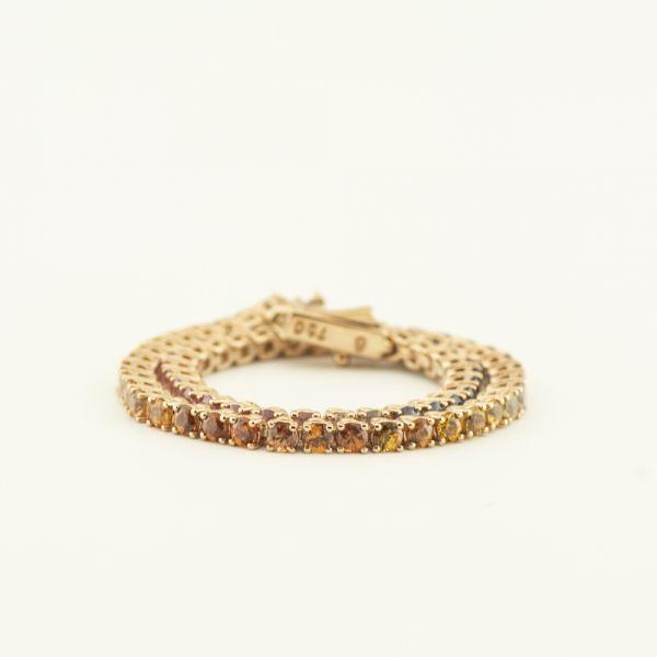 Bratara de aur roz 18k, 9,46 grame, safire multicolore~5,57 ct.
