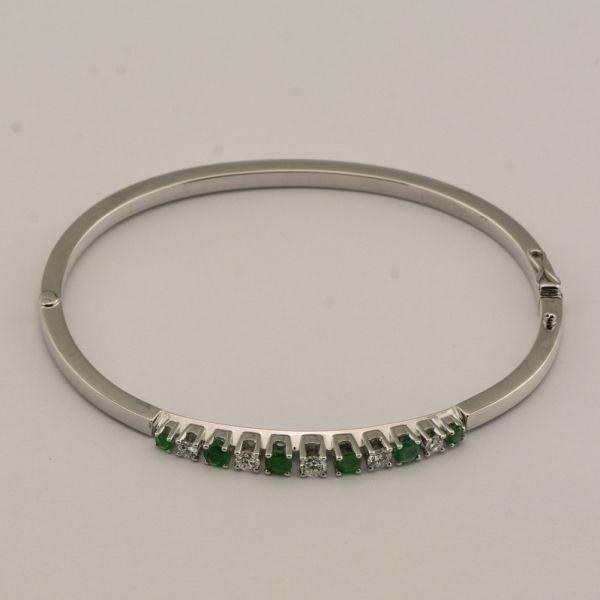 Bratara din aur alb 18k, cu smaralde si diamante