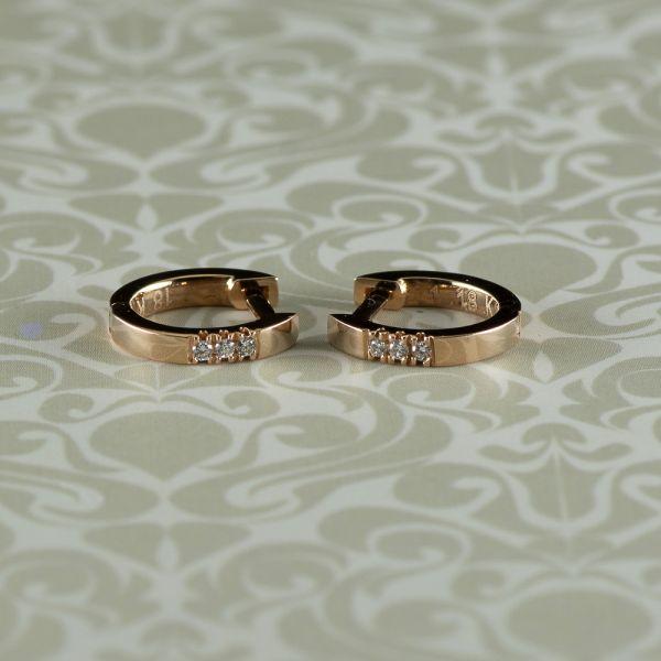 Cercei cu diamante, aur roz 18k, 1,70 grame