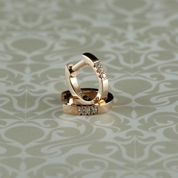 Cercei cu diamante, aur roz 18k, 1,73 grame