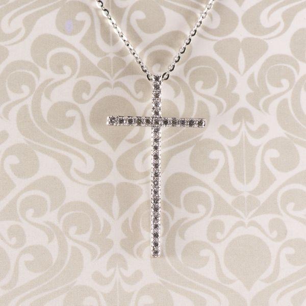 Cruce din aur alb 18k