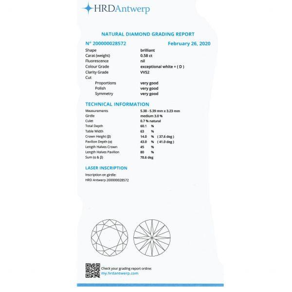 Diamant 0,58 ct., D, VVS2, HRD Antwerp Belgia