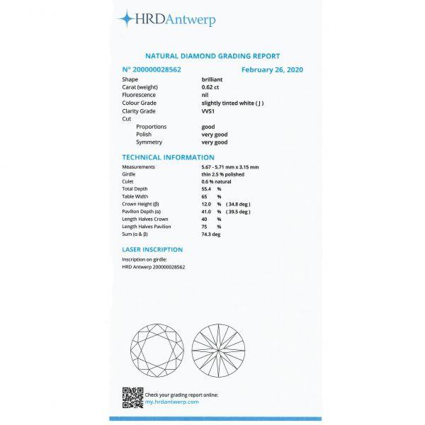 Diamant 0,62 ct., J, VVS1, HRD Antwerp Belgia