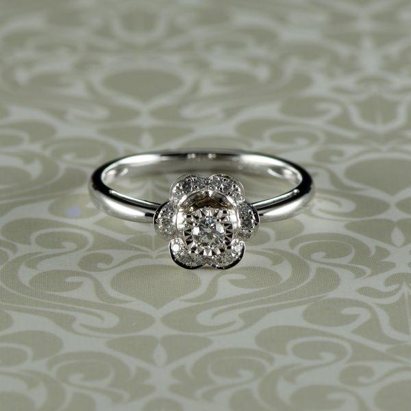 Inel cu diamant, aur alb 18k, 2,67 grame