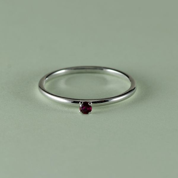 Inel de logodna din aur alb 14k cu rubin