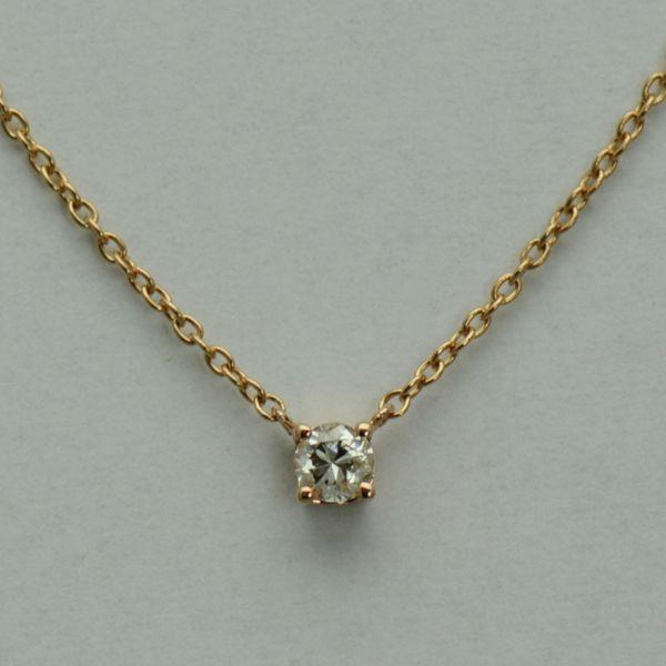 Lant din aur roz 18k cu diamant