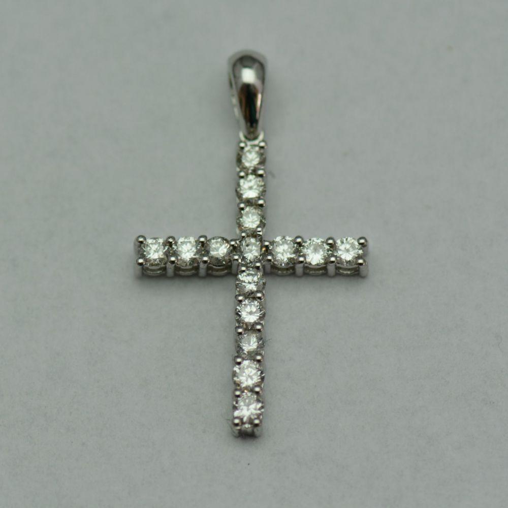 Cruce din aur alb cu diamante
