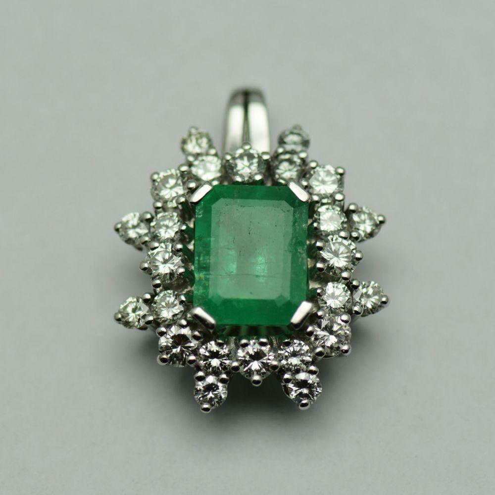 Pandantiv cu smarald si diamante
