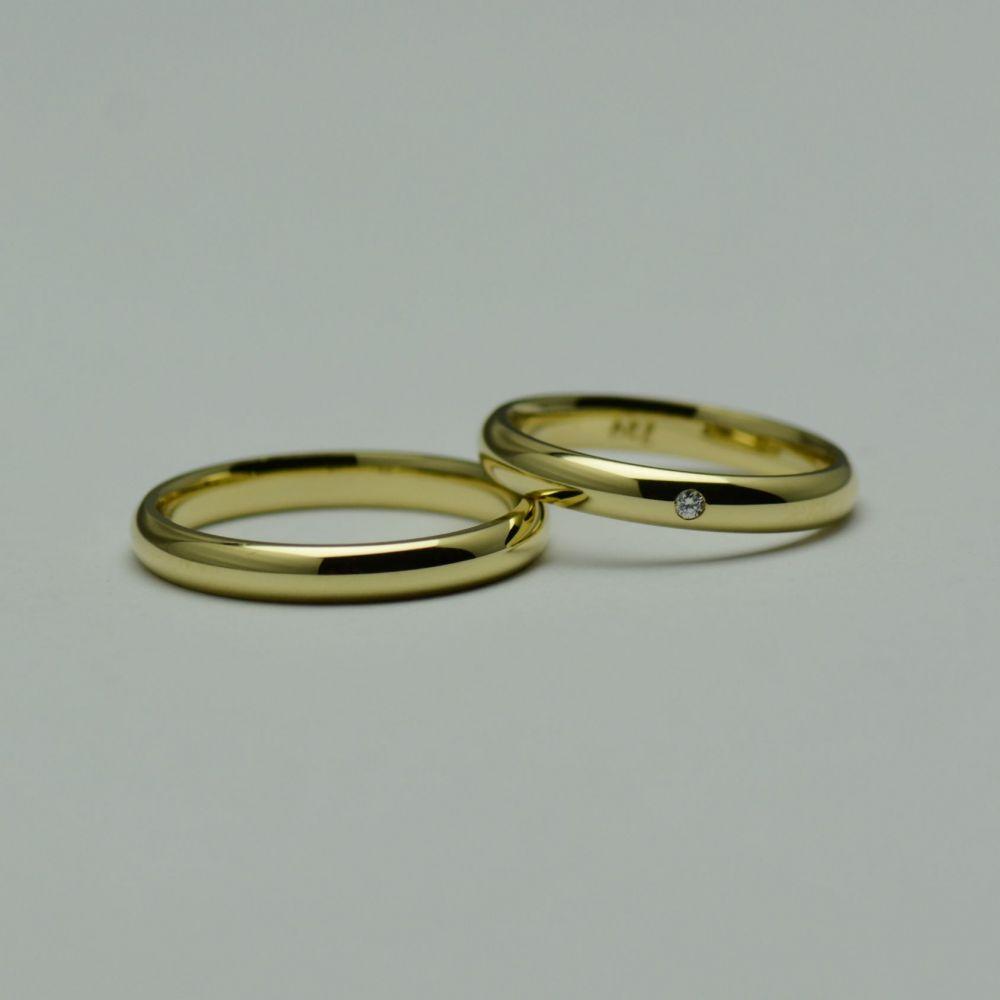 Verighete din aur galben 18k, cu un diamant
