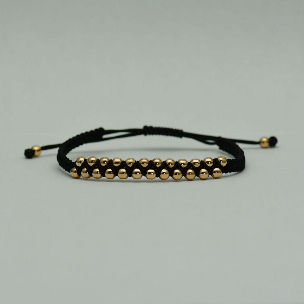 Bratara din aur cu fir textil negru