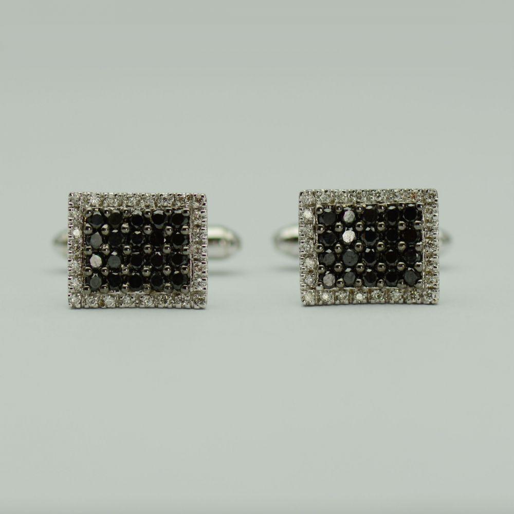 Butoni din aur alb cu diamante