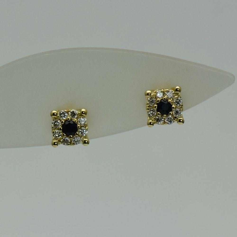 Cercei de aur galben cu safire si diamante