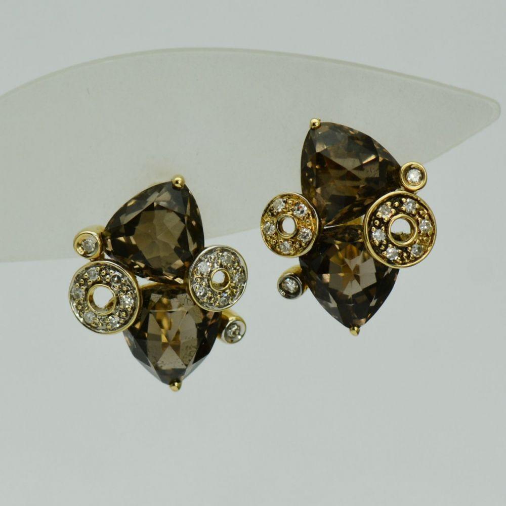 Cercei din aur galben 18k cu diamante si cuarturi fumurii