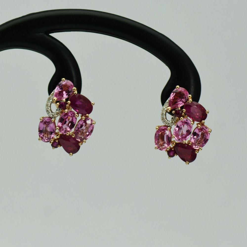 Cercei din aur roz cu rubine, safire si diamante