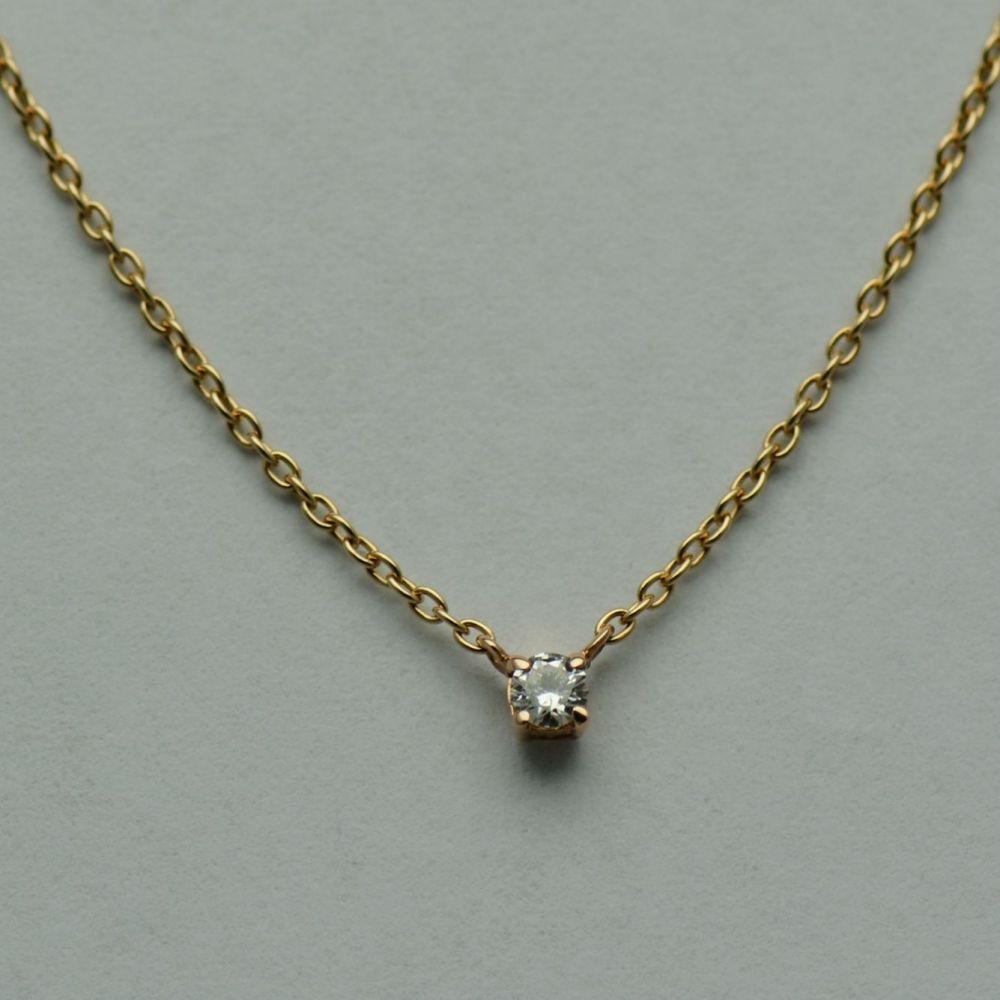 Lant cu pandantiv aur roz 18k cu diamant