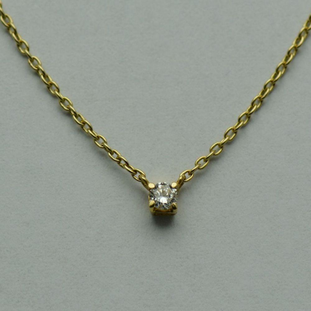 Lant cu pandantiv de aur galben cu diamant