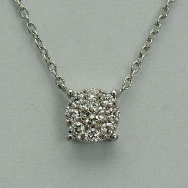 Lant si pandantiv din aur alb cu diamante