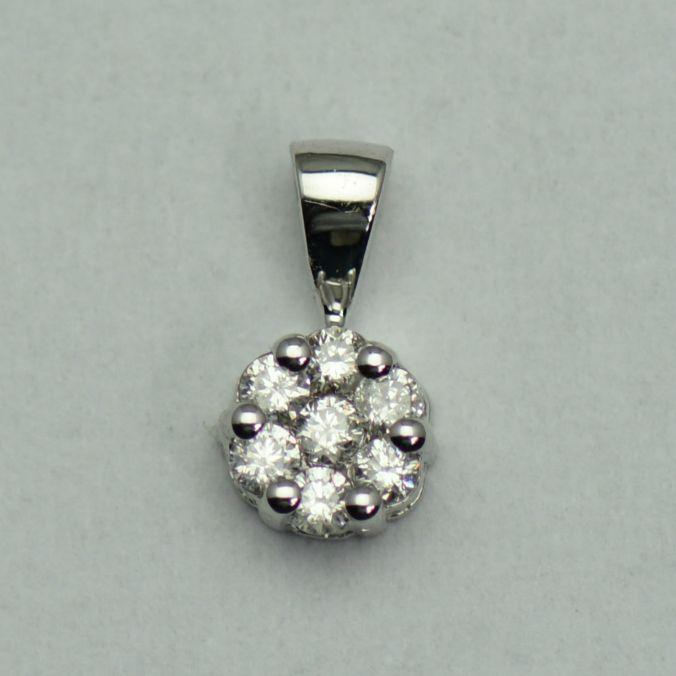 Pandantiv din aur alb 18k cu diamante