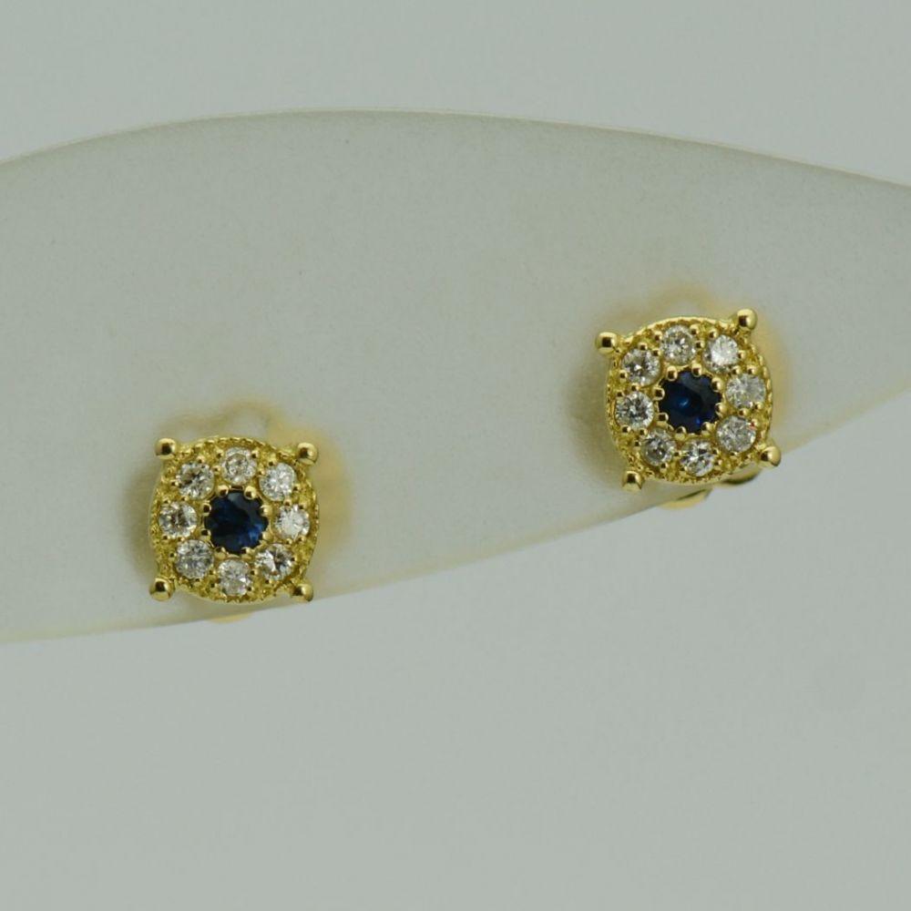 Cercei 18k de aur galben cu safire si diamante
