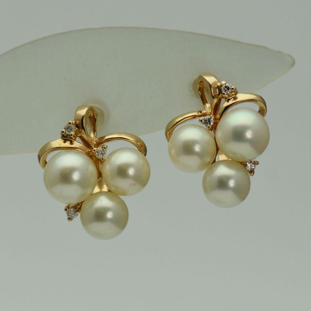 Cercei aur roz 14k cu perle si diamante