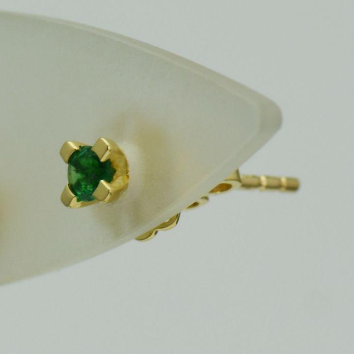 Cercei de 18k aur galben cu smaralde