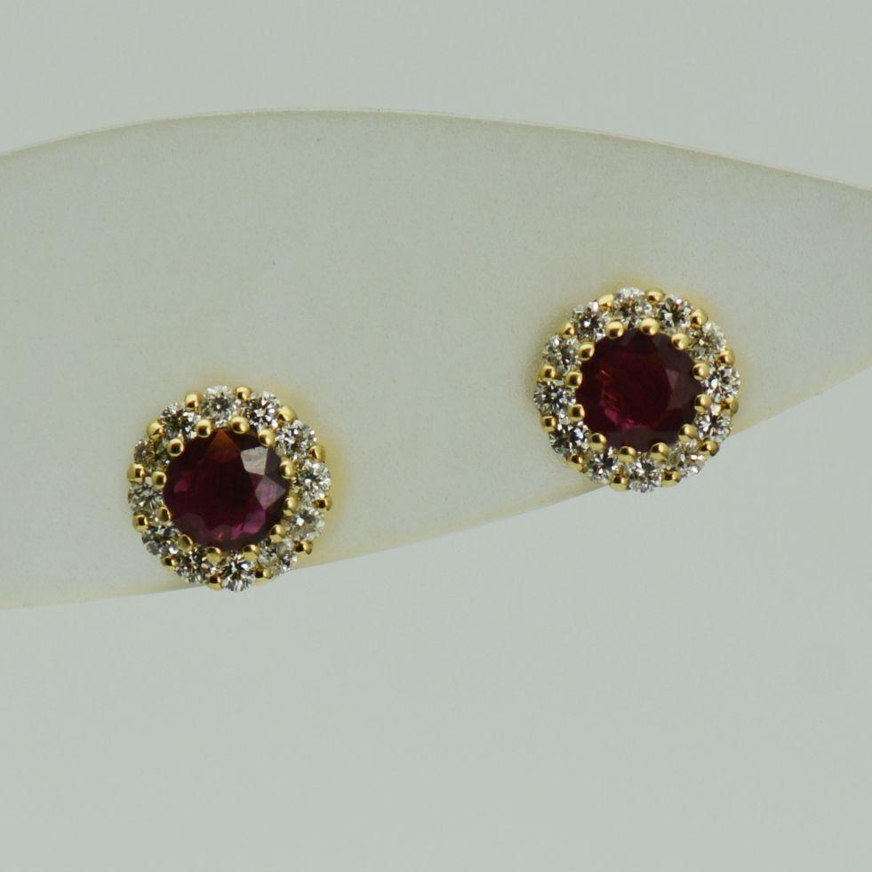 Cercei din 18k aur galben cu rubine si diamante