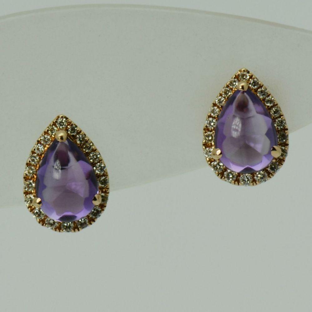 Cercei din aur roz 14k cu ametiste si diamante