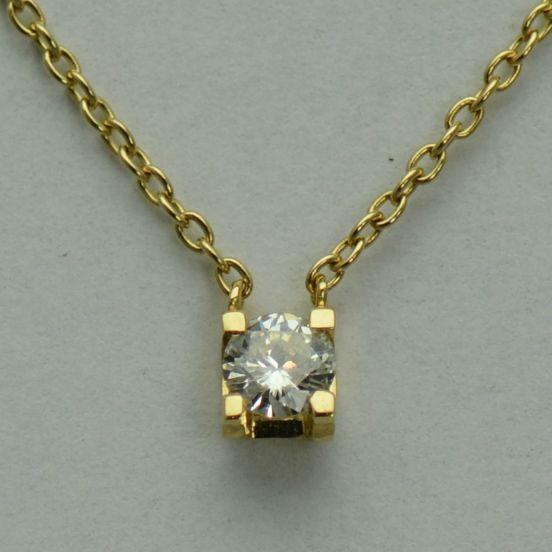 Lant cu pandantiv 18k aur galben cu diamant