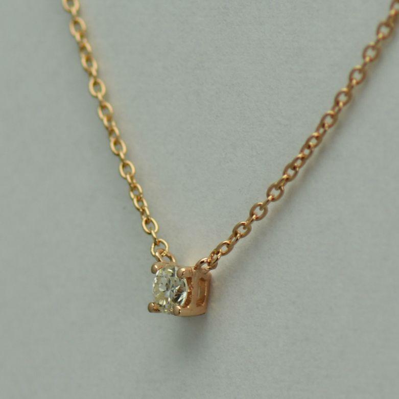 Lant cu pandantiv 18k aur roz cu diamant