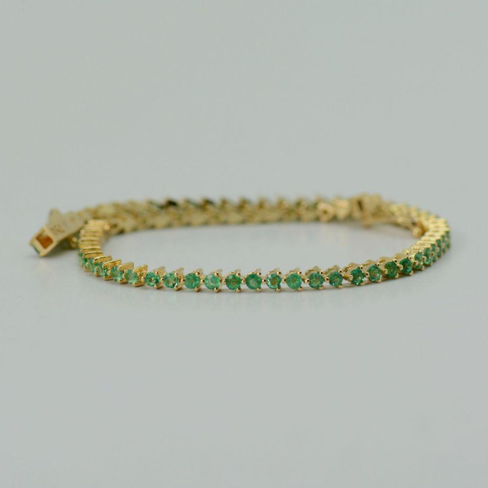 Bratara cu smaralde, aur galben 18k