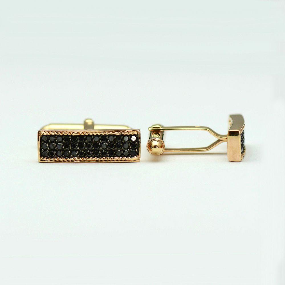 Butoni din aur roz cu diamante negre