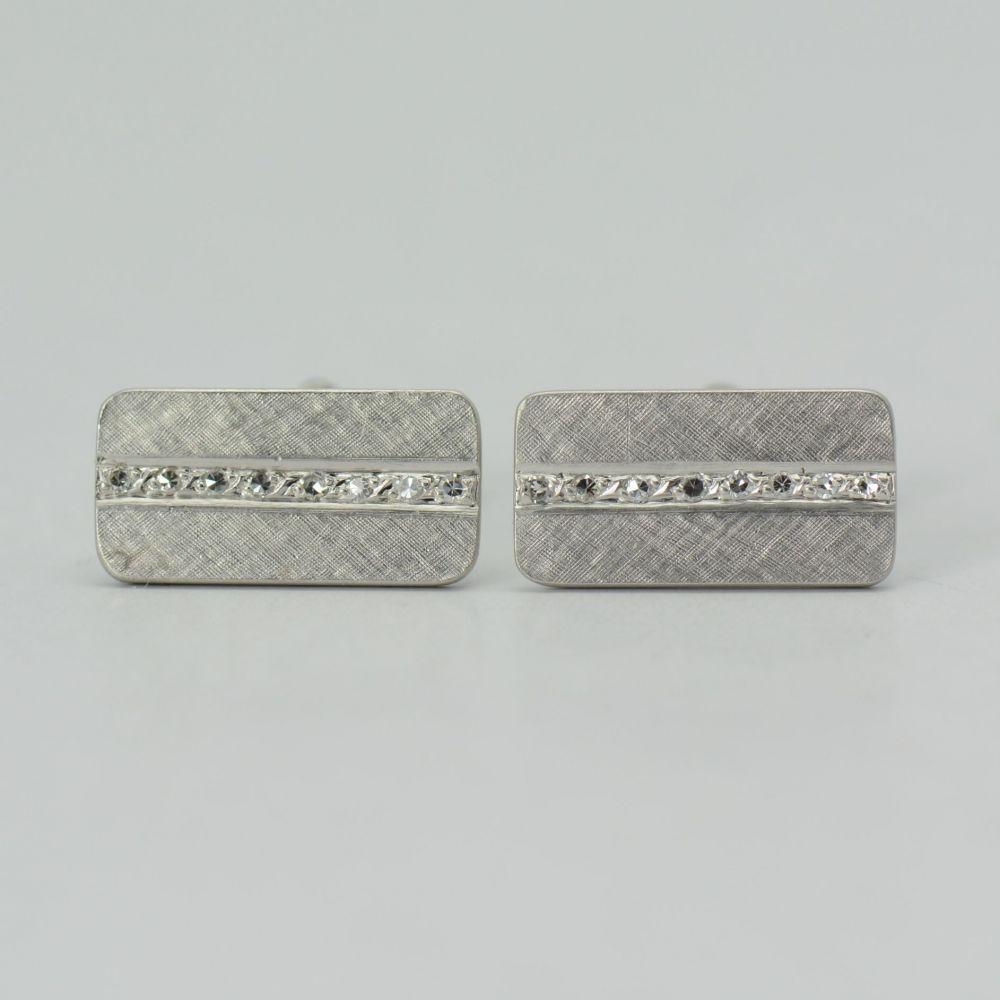 Butoni dreptunghiulari aur alb 14k cu diamante