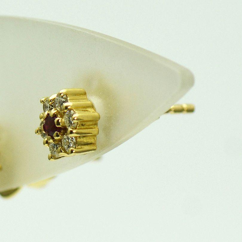 Cercei de 18k aur galben cu rubine si diamante