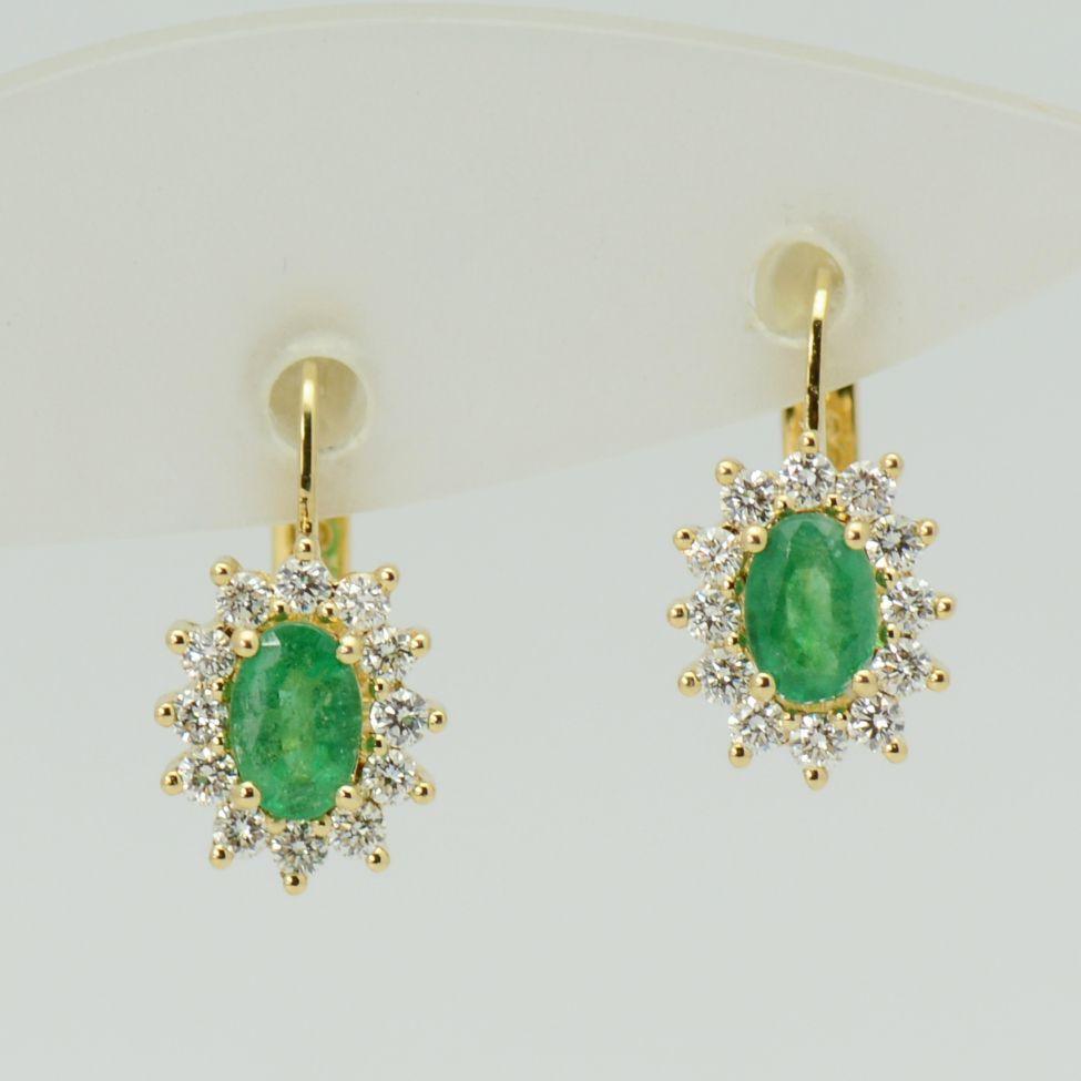 Cercei de aur galben cu smaralde si diamante
