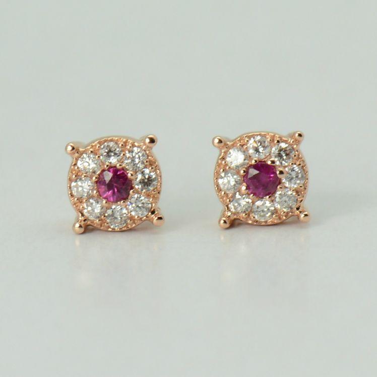 Cercei din aur roz cu diamante si rubine
