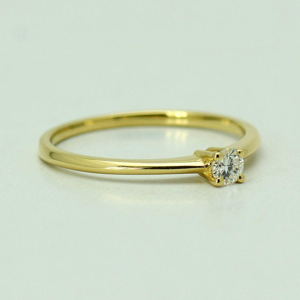 Inel aur galben 18k cu diamant
