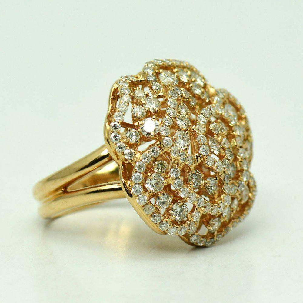 Inel din aur roz cu diamante
