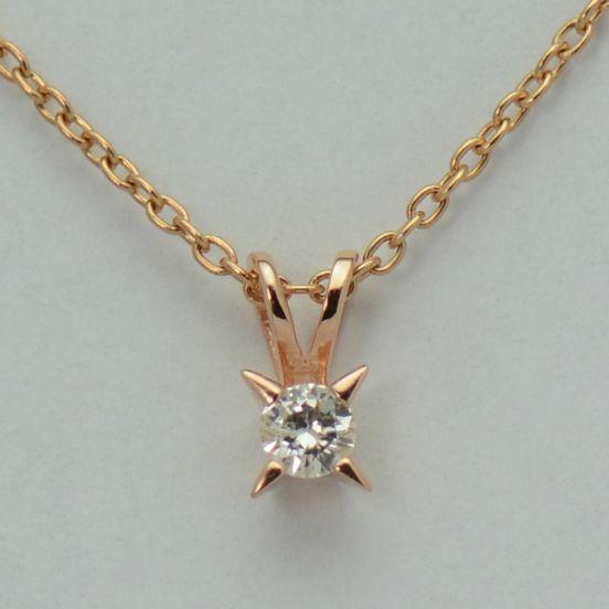 Lant cu pandantiv, aur roz 18k cu diamant