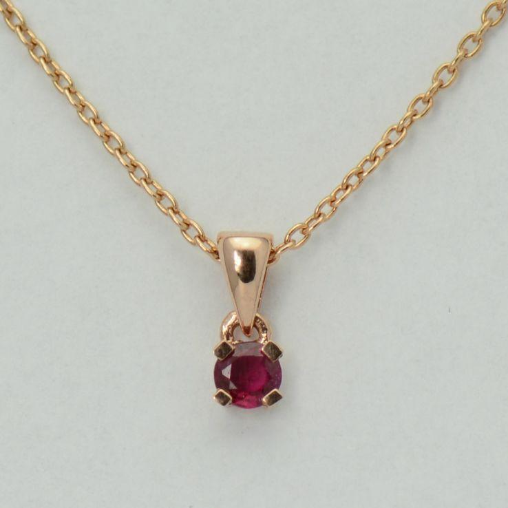 Lant cu pandantiv, aur roz 18k cu rubin