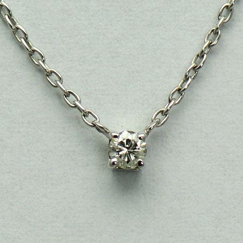Lant cu pandantiv din aur alb 18k cu diamant