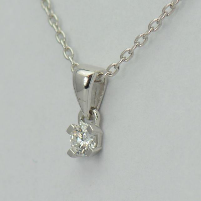 Lant si pandantiv, aur alb 18k cu diamant rotund