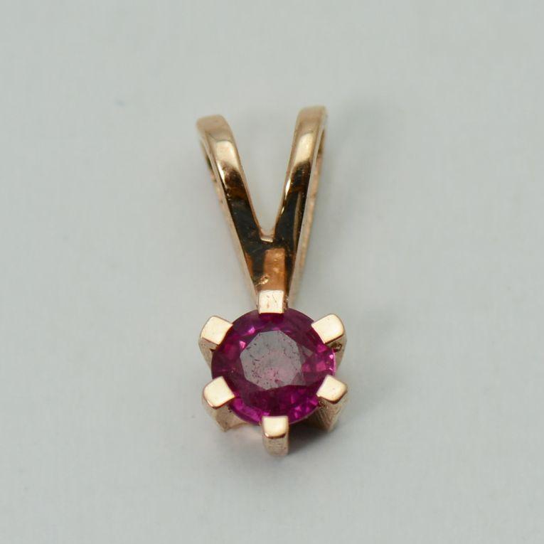 Pandantiv cu rubin, aur roz 18k