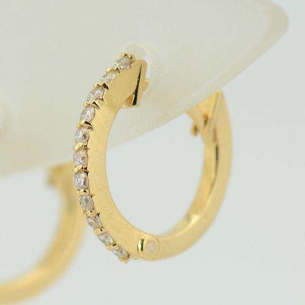 Cercei tortite din aur galben 18k cu diamante