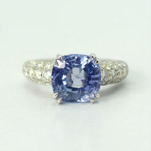 Inel aur alb cu safir Ceylon si diamante