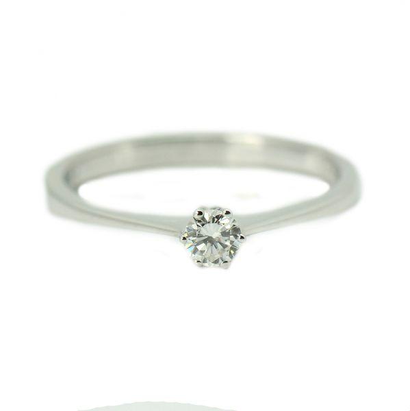 Inel cu diamant rotund, aur alb 18k