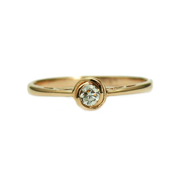 Inel de logodna din aur roz 14k cu diamant