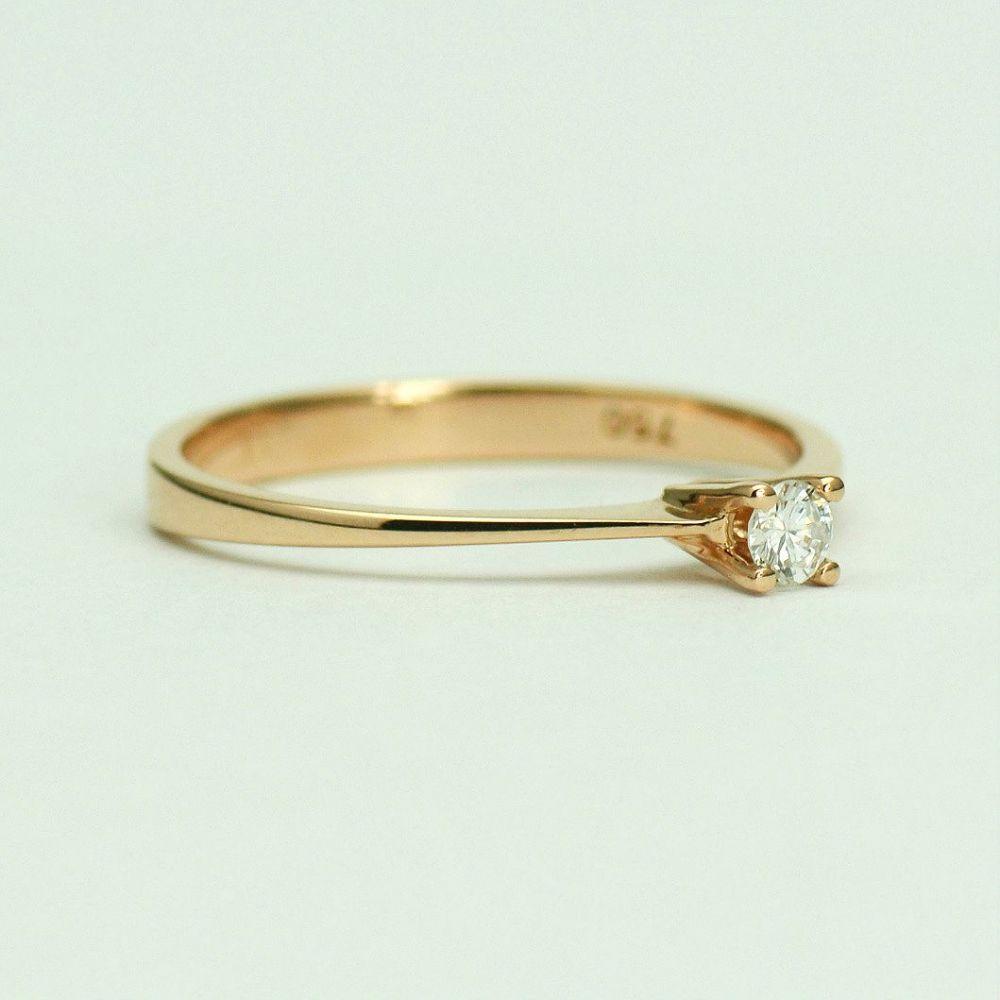 Inel de logodna din aur roz 18k cu diamant