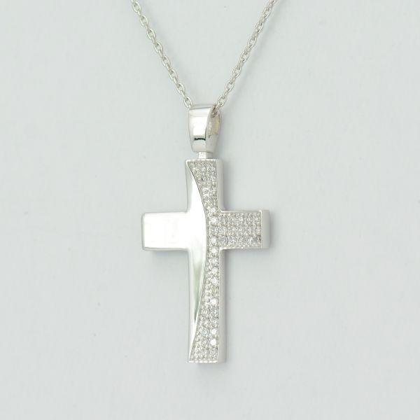 Lant pandantiv cruce de aur alb18k